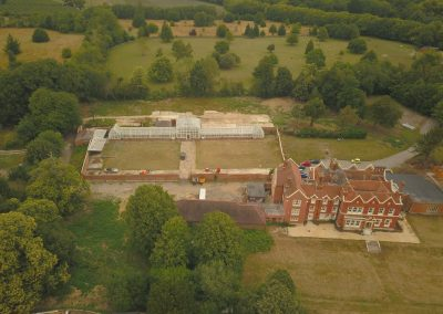 Manor House and Glasshouse - Overhead View